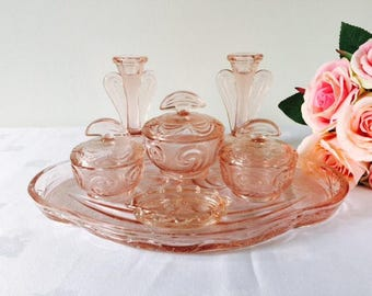Bagley Glass Pink 'Rutland' Dressing Table Set, 7 Pieces, England, 1930s.