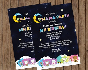 Pajama Party Invitation - Unisex Invitation - Pyjama Party Invitation - Sleep Over Party - Printable Invitation