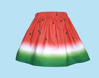 Watermelon Skirt for Young Gals, Sizes 12 Months to Size 12 Girls