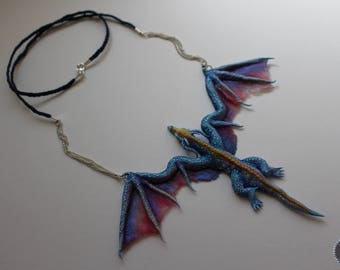Blue dragon Erydan, dragon necklace from polymer clay