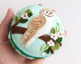 barn owl wool felt pincushion with hand embroidery