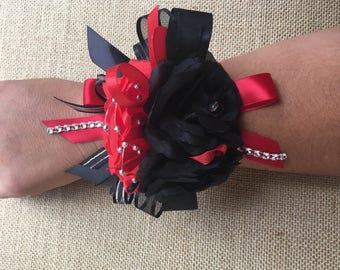 Red and Black   wrist corsage / Boutonniere/Red Wrist corsage, Corsage Prom/Red wrist corsage/ Prom Wrist corsage/Red and Black