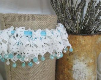 Crochet lace Beaded Bridal Garter Pattern