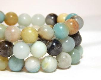 9mm Flower Amazonite, 9mm Mulit-Color Amazonite, 9mm Amazonite, 9mm Amazonite Beads, 9mm Gemstone Beads, Natural Stone, Gemstones, B-12C