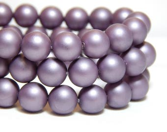 8mm Purple Shell Pearls, 8mm Purple Beads, 8mm Lilac Beads, Matte Purple Beads, Purple Beads, 8mm Shell Pearls, Frosted Beads, B-57B