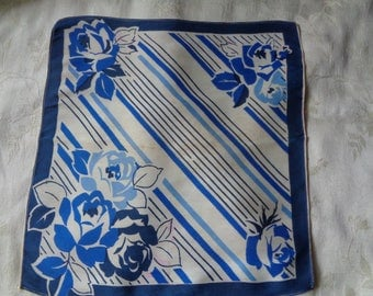 1930's Hankie blue and white stripes and flowers art deco