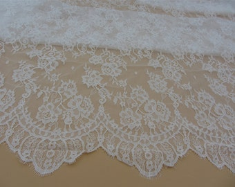 Chantilly lace fabric sold by yard,wedding Lace trim, 150cm Eyelash lace for lace dress,off white lace