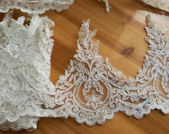 off White Lace Fabric French Chantilly style  lace trim - 22cm white lace trim wedding lace