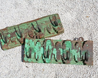 Vintage Wall Hooks, Indian, Teal, Hand Carved Wooden, Pair