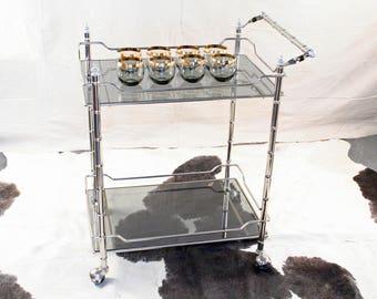 Mid-Century Bar Cart with Bamboo Motif