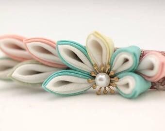 Kanzashi flower hair barrette Handmade flower hair clip kanzashi flower