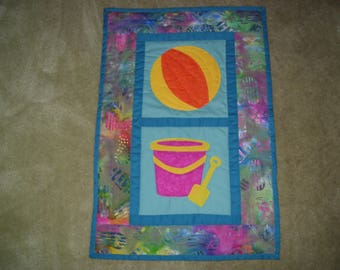Beach quilt for beach house decoration-machine quilted and appliqued