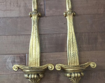 Vintage Wall Plate Holder Antique Gold A Pair
