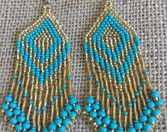 Gold Turquoise Beaded Pyramid Earrings