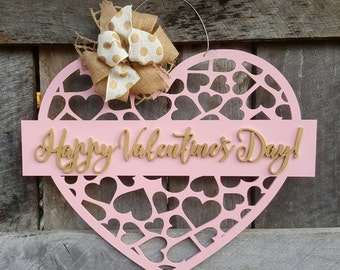 Happy Valentine's Day Wreath - Valentine Door Hanger