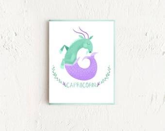 Capricorn Card, Astrology Card, Zodiac Card, Zodiac Birthday Card, Capricorn Birthday, Astrology Gift, Capricorn Art, Zodiac Sign