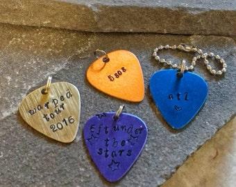 ATL Guitar Pic keychain, 5sos keychain, warped tour keychain,stamped guitar pick, Metal Guitar Pick Keychain, Custom Guitar pick keychain