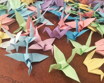 Origami Paper Cranes 9cm X 10 Pastel Colour Mix - Origami Birds - Folded Paper Birds - Wedding Decoration - Baby Shower - Paper Decorations