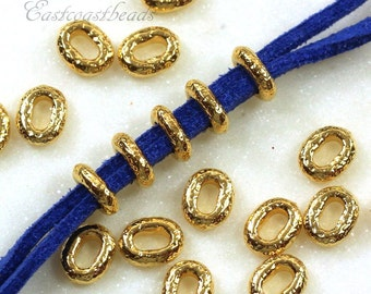Large Hole Distressed Oval Beads, TierraCast, Leather Findings, 8mmX6mm, Distressed Crimp Style Bead, Gold Plated Pewter, 10 Pieces, 9025