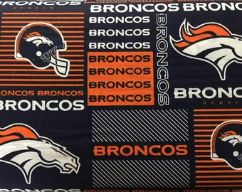"DENVER BRONCOS nfl 60"" Cotton Fabric By The Yard All Over Patchwork Print Fabric Traditions"