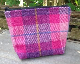 Pink check harris tweed small wash bag cosmetic bag zip storage bag with waterproof lining.