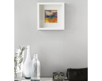 Abstract landscape gliceé print, small size print, modern decoration, warm sunset