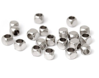 Silver Tone Copper Square Cube Spacer Beads 2.5mm ( No.137)