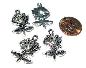 10pcs Antique Silver Rose Charms Pendants 26mm