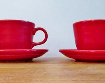 Set of 2 Fiestaware Mugs and Saucers - RED