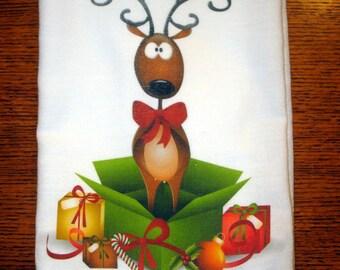 Flour Sack Kitchen Towel Christmas Reindeer