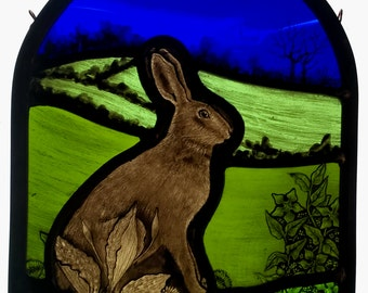 Stained Glass Hare Panel