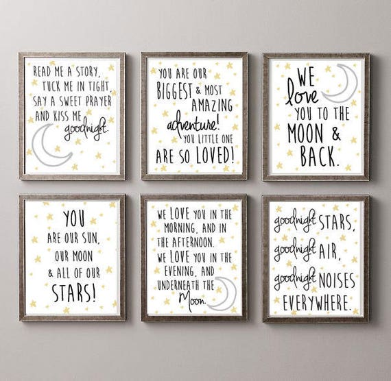 Stars and Moon Nursery Theme Prints for wall decoration- A COLLECTION- 6 prints for the price of 4