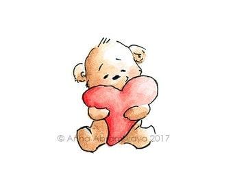 Bear with heart etsy teddy bear with heart printable art digital file valentines love bear voltagebd Images