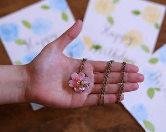 Sakura cherry blossom and bee polymer clay necklace + 3 happy birthday watercolor cards