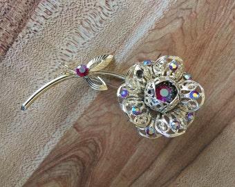 Vintage Sarah Coventry Pin Brooch Flower Pin Rhinestone Brooch