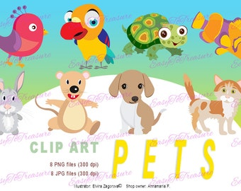 Digital Download Clipart – 8 Pets, Animals Clipart Group Collection JPEG and PNG files