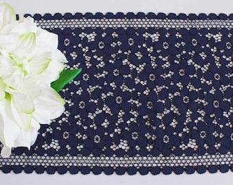 Navy stretch lace, navy lace trim, scallop lace, narrow stretch lace, floral lace trim, stretch lace, navy lace, elastic lace, stretchy lace