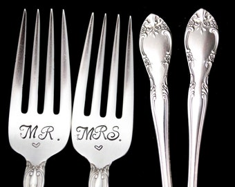 Stamped Wedding Forks Mr Mrs Fork Something Old Vintage Hand Stamped Dessert Salad Fork Mr Mrs Flatware Engagement Gift Gorham Silver Plate