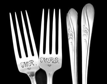 Stamped Wedding Forks Mr Mrs Fork Something Old Vintage Hand Stamped Floral Dinner Forks Mr Mrs Flatware Engagement Gift Gift for Couple