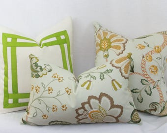 "Green floral decorative throw pillow cover. P. Kaufmann Arabella decorative pillow cover. 20"" x 13"" pillow."