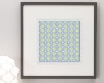 Square Geometric Pattern Blue Green Cross Stitch Pattern