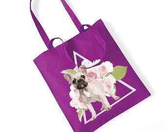 Jute Bag French Bulldog Flower