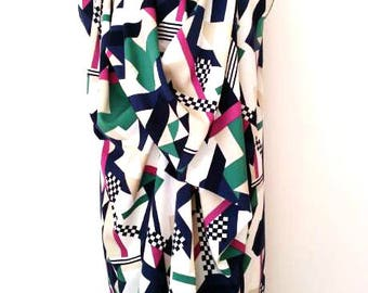 Geometric V-Neck drape dress
