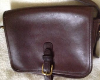 Rare Vintage Coach Equestrian Brown Leather Shoulder Handbag