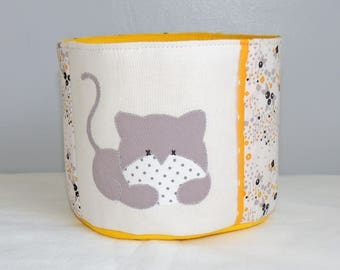 TO order - basket cat - yellow, ecru and grey cotton fabric