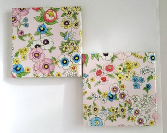 Single Handmade Coaster. Ceramic Tile, Decoupaged, Felt Back. Floral, Pink, Green, Yellow, Blue. Water Resistant and Heatproof. Gift.