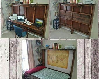 hide a bed desk murphy bed all wood handmade can customize - Murphy Bed Desk
