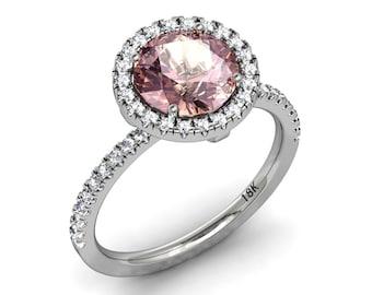 Morganite and Diamond Simulate Halo Engagement Ring 18k White Gold Wedding Ring 8mm Round Morganite .30ct Diamond Simulate Ring