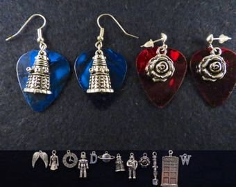 Doctor Who guitar pick earrings with the charm of your choice.