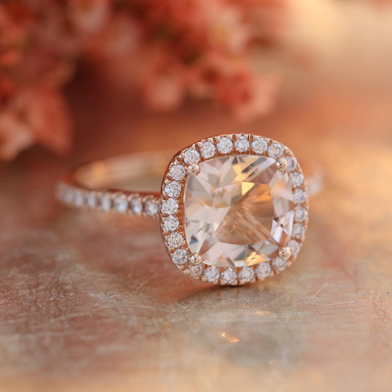 Halo Diamond Morganite Engagement Ring in 14k Rose Gold Pave